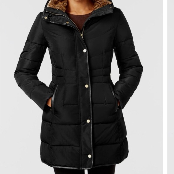 Faux-Fur-Lined Down Puffer Coat Small/Petite Black